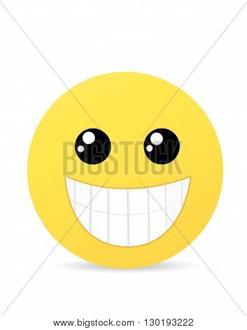 Modern yellow laughing happy smile vector illustration art