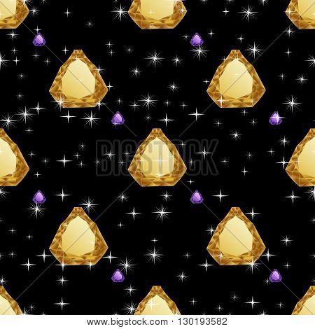 Diamonds seamless pattern. Vector illustration jewerly. Abstract diamond vector background. Jem seamless pattern. Seamless background, brilliant jewels, yellow gold diamond