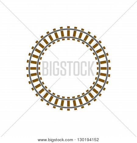 Circle train railway track vector illustration isolated on white background.