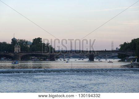 The Legions Bridge in Prague at the evening