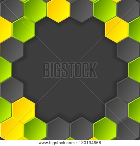 Abstract hi-tech dark background with hexagons