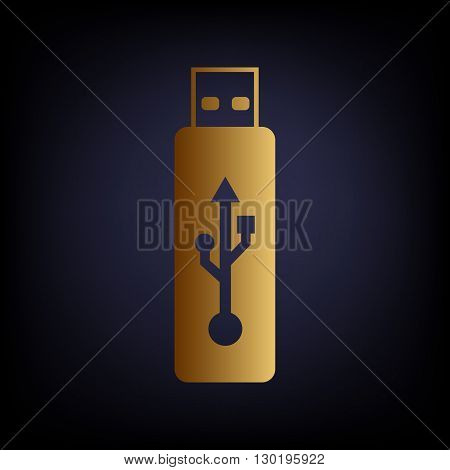Vector USB flash drive sign. Golden style icon on dark blue background.