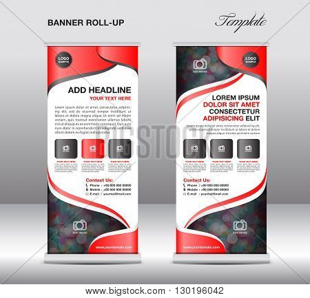 Roll up banner stand template stand design banner template red banner advertisement flyer template presentation red background