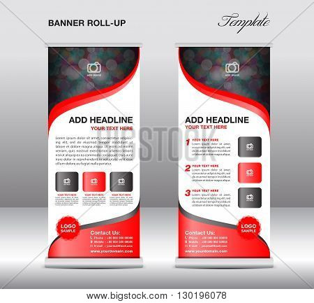 Roll up banner stand template stand design banner template Blue banner advertisement flyer templatepresentationred background