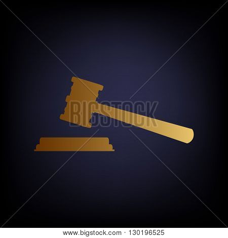 Justice hammer sign. Golden style icon on dark blue background.