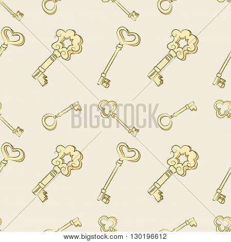 Seamless keys pattern. Gold vintage keys. Digital or Wrapping Paper