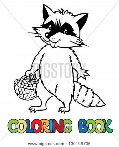 Coloring book or coloring picture of funny raccoon with basket of berries. Children vector illustration