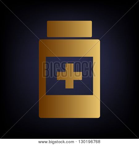 Medical container sign. Golden style icon on dark blue background.