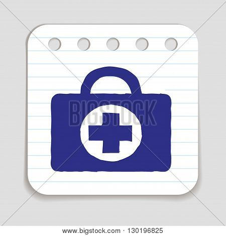 Doodle Doctors Bag icon. Blue pen on notepad page. Vector illustration.