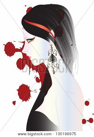 Beautiful vampire woman with long dark hair, big black earring on white background with blood spots