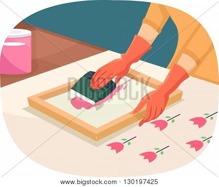 Illustration of a Woman Printing Using a Silk Screen