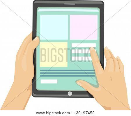 Illustration of a Man Browsing the Internet Using His Tablet