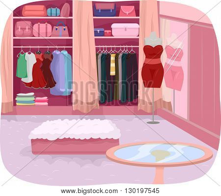 Illustration Featuring the Interior of a Closet