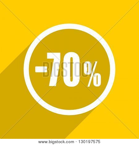 yellow flat design 70 percent sale retail web modern icon for mobile app and internet