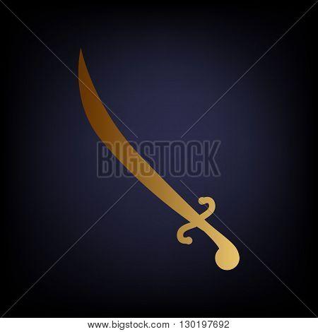 Sword sign. Golden style icon on dark blue background.
