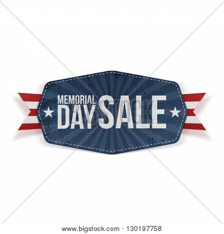 Memorial Day Sale Label with Ribbon and Shadow. Vector Illustration