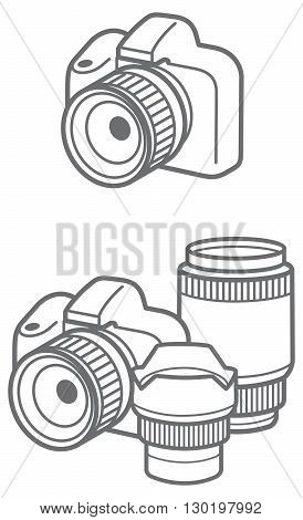 vector outline icons with camera and lens