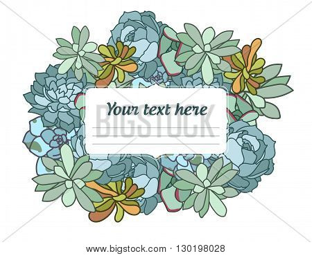 Succulent flower isolated hand drawn vector illustration, agave succulent icon, with corner in oriental style, text, flat design