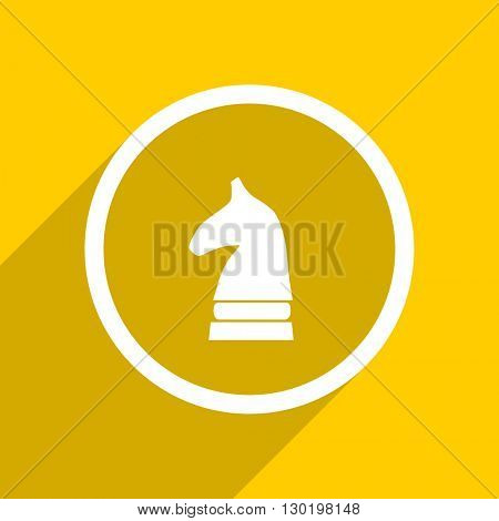 yellow flat design chess horse web modern icon for mobile app and internet