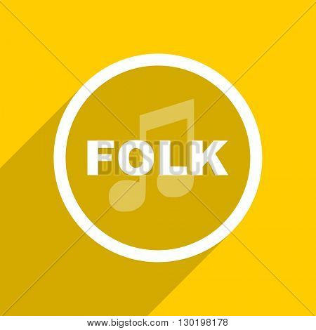yellow flat design folk music web modern icon for mobile app and internet