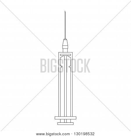 A syringe for injections and blood sampling. Icon syringe. Circuit syringe isolated on white background. Vector illustration.