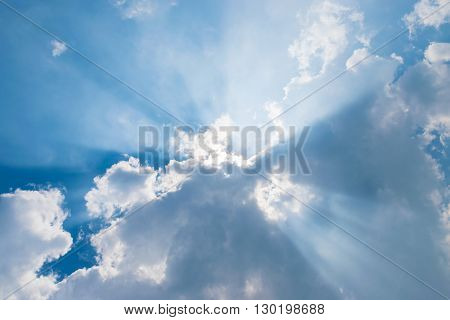 beautiful clouds in blue sky with sunrays