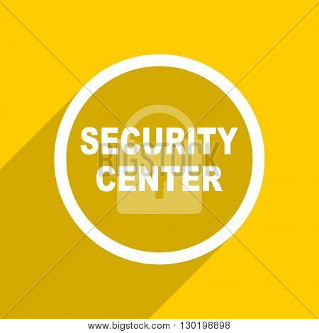 yellow flat design security center web modern icon for mobile app and internet