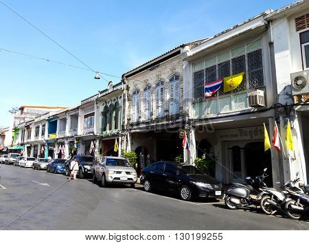 PHUKET THAILAND - May 5: The street scene of China Town in Phuket Thailand on May 5 2016. China town in Phuket Island is one of the oldest Chinese communities in Southeast of Asia.