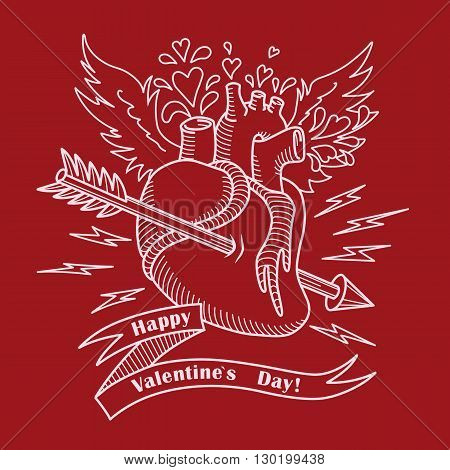 Valentines Day Card with Anatomical Heart, Wings, Arrow and Ribbon with Text. Vector Illustration for Valentines Day Card. Flying Anatomical Heart with Blood Drops in Form of Hearts for Your Design.