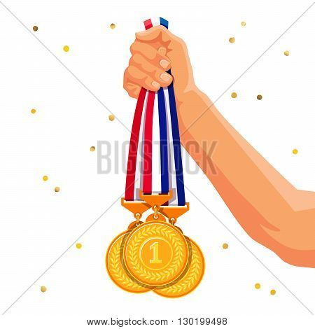 Three gold medals in his hand. Vector illustration on a white background with confetti. Winner and medalist.