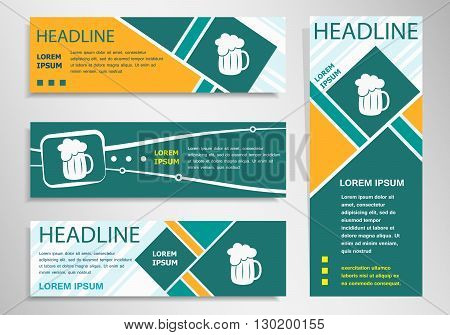 Beer Mug Icon On Horizontal And Vertical Discount Banner, Header