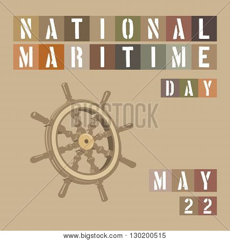 An abstract illustration on National Maritime Day on a beige colored background