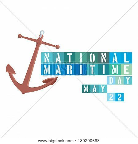An abstract illustration on National Maritime Day with an anchor symbol