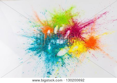Open Hand Imprint In Colorful Holi Powder