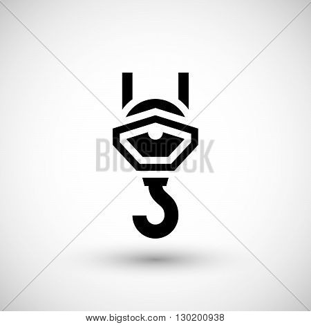 Crane hook icon with pulley isolated on grey. Vector illustration