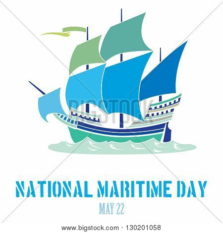 An abstract illustration on National Maritime Day with an iconic steam boat