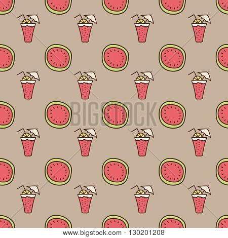 Seamless summer background. Hand drawn pattern. Suitable for fabric, greeting card, advertisement, wrapping. Bright and colorful watermelon and cocktail backdrop