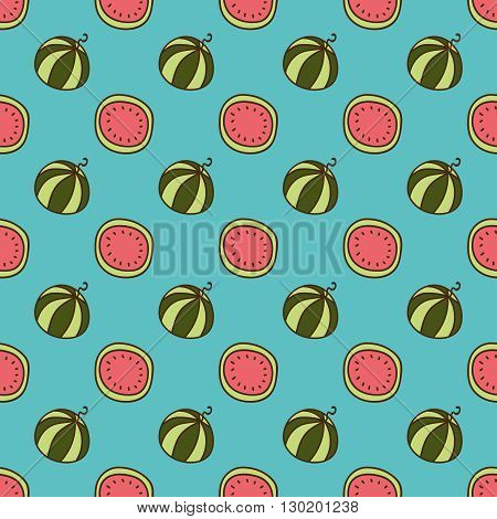 Seamless summer background. Hand drawn pattern. Suitable for fabric, greeting card, advertisement, wrapping. Bright and colorful watermelon backdrop