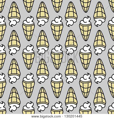 Seamless summer background. Hand drawn pattern. Suitable for fabric, greeting card, advertisement, wrapping. Bright and colorful ice cream cone backdrop
