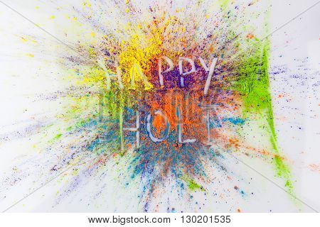Happy Holi Text On Colorful Background