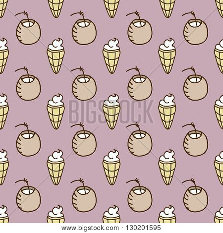Seamless summer background. Hand drawn pattern. Suitable for fabric, greeting card, advertisement, wrapping. Bright and colorful cocktail and ice cream backdrop