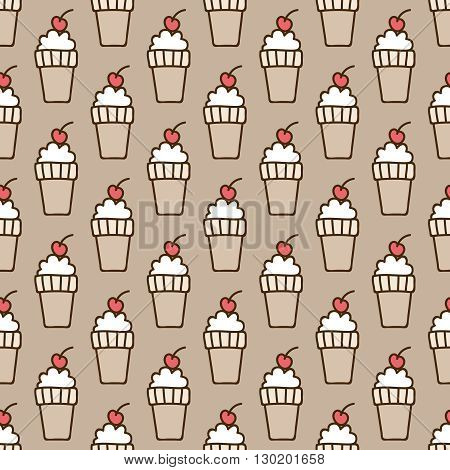 Seamless summer background. Hand drawn pattern. Suitable for fabric, greeting card, advertisement, wrapping. Bright and colorful ice-cream cone and a cherry backdrop
