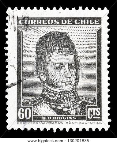 CHILE - CIRCA 1948 : Cancelled postage stamp printed by Chile, that shows  portrait of Bernardo O'Higgins