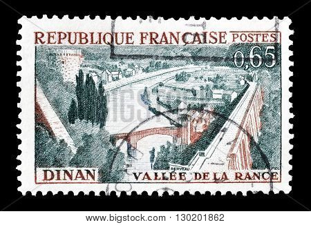 FRANCE - CIRCA 1961 : Cancelled postage stamp printed by France, that shows  Rance Valley and Dinan.
