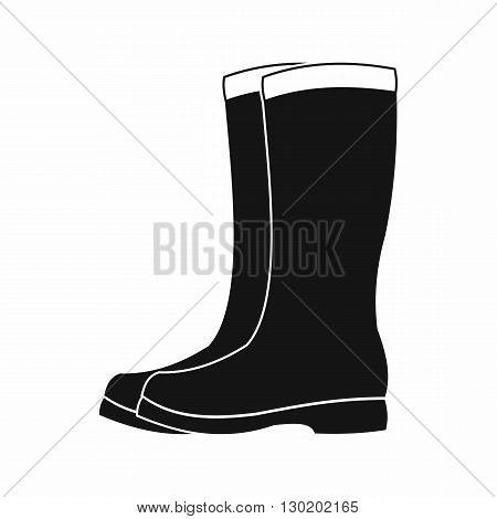 Rubber boots icon in black simple style isolated on white background