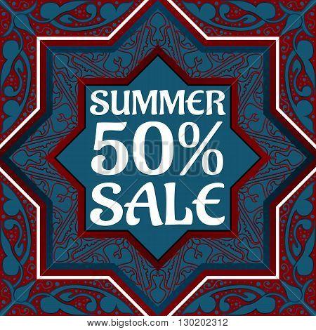 Summer sale discount banner in Arabic style Vintage oriental ornament. Template placard design for sale season. Vector illustration