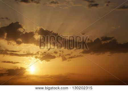 Beautiful Sunset with sun rays. Sunset sky background