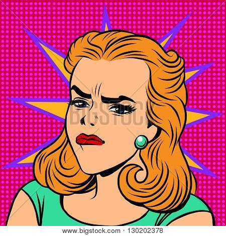 Emoji retro anger disgust girl emoticons. Pop art vector illustration. Emoji woman. Emotions girl face. Retro Emoji girl