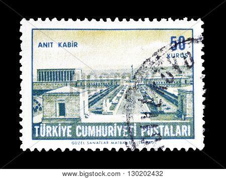 TURKEY - CIRCA 1963 : Cancelled postage stamp printed by Turkey, that shows Ataturk's mausoleum.