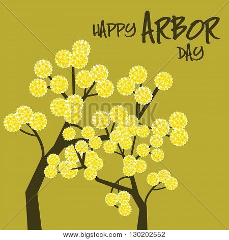 Yellow blossoms on a green background celebrating Arbor day